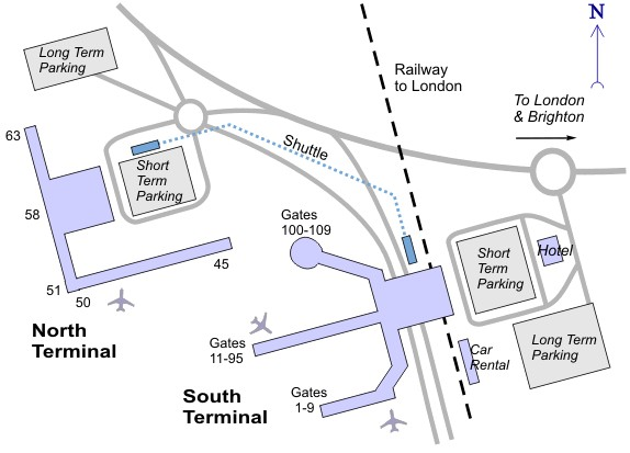 Схема аэропорта Гатвик
